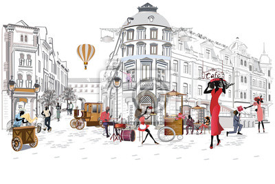 Sticker Série des cafés de rue avec des personnes, hommes et femmes, dans la vieille ville, illustration vectorielle. Les serveurs servent les tables.