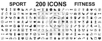 Sticker Set 200 isolated icons spotr - fitness. Fitness exercise, sport workout training illustration – stock vector