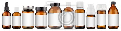 Sticker Set collection row of various brown medicine pill glass pipette dropper bottle with blank copyspace label design pattern without isolated white panorama background