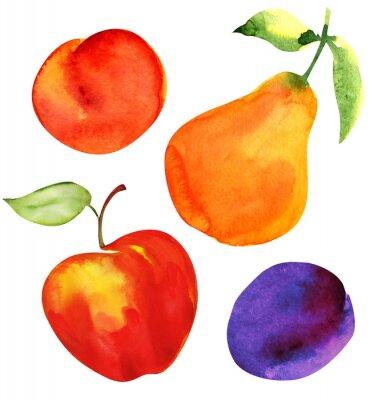 Sticker Set de fruits. Pomme, poire, prune et abricot.