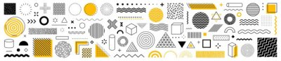 Sticker Set of 100 geometric shapes. Memphis design, retro elements for web, vintage, advertisement, commercial banner, poster, leaflet, billboard, sale. Collection trendy halftone vector geometric shapes.