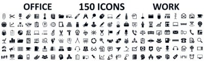 Sticker Set of 150 office icons, work in office signs - stock vector