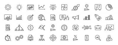 Sticker Set of 40 Data Proceassing web icons in line style. Graphic, analytics, statistic, network, diagrams, digital. Vector illustration.