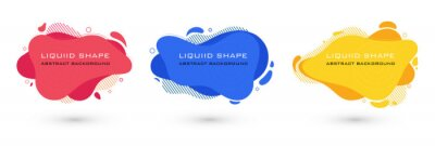 Sticker Set of abstract liquid shape graphic elements. Colorful gradient fluid design. Template for presentation, logo, banner. Vector illustration.