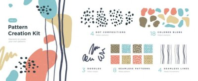 Sticker Set of abstract trendy hand drawn shapes and design elements. Pattern Creation set. Vector