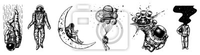 Sticker Set of Astronauts in the solar system. Spaceman and whale, taking off cosmonaut, planets in space, balloons and the moon. Engraved hand drawn Old sketch in vintage style.
