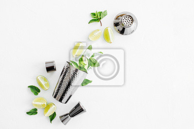 Sticker Set of bar accessories for cocktail making. Shaker, jigger, glass, spoon  and  other bar tools with lime and mint leaves on withe  background.