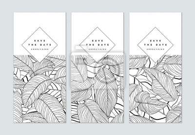 Sticker Set of botanical brochure cover template design, leaves pattern line art ink drawing in black on white