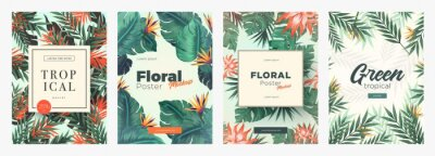 Sticker Set of Bright tropical backgrounds with jungle plants. Exotic patterns with tropical leaves