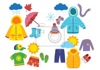 Sticker set of children's season clothes - vector illustration, eps