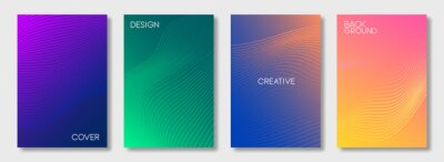 Sticker Set of colorful cover design templates. Abstract futuristic geometric pattern with wavy lines for banner, posters, and wallpaper. Vector
