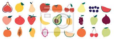 Sticker Set of colorful fruit icons ,banana, apple, pear, strawberry, orange, peach, plum, watermelon, pineapple, papaya, grapes, cherry, lemon, mango. Vector illustration, isolated on white.