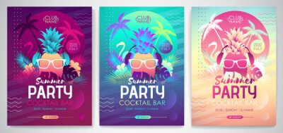 Sticker Set of Colorful summer disco party posters with fluorescent tropic leaves, pineapple and flamingo. Summertime backgrounds