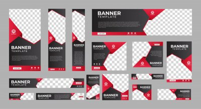 Sticker set of corporate web banners of standard size with a place for photos. Vertical, horizontal and square template. vector illustration EPS 10