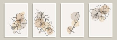 Sticker Set of creative minimalist hand draw illustrations floral outline lily pastel biege simple shape for wall decoration, postcard or brochure cover design