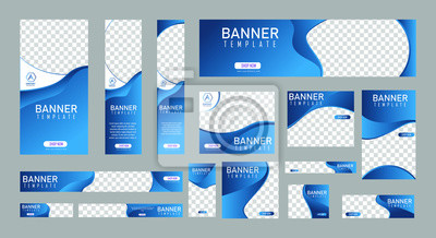Sticker set of creative web banners of standard size with a place for photos. Vertical, horizontal and square template. vector illustration