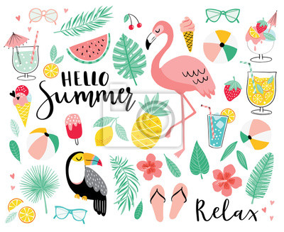 Sticker Set of cute summer icons. Hand drawn vector illustration.  Flamingo, toucan, tropical palm leaves, fruits, food, drinks. Summertime poster, scrapbooking elements.