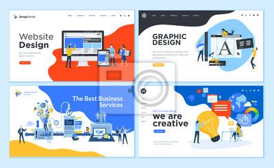 Sticker Set of flat design web page templates of graphic design, website design and development, social media, business service. Modern vector illustration concepts for website and mobile website development