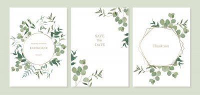 Sticker Set of floral card with eucalyptus leaves. Greenery frame. Rustic style. For wedding, birthday, party, save the date. Vector illustration. Watercolor style