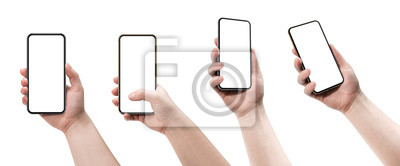 Sticker Set of four smartphones, blank screen and isolated on white background