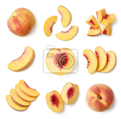 Sticker Set of fresh whole and sliced peach fruit