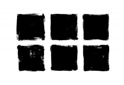 Sticker Set of grunge square template backgrounds. Vector black painted squares or rectangular shapes. Hand drawn brush strokes isolated on white. Dirty grunge design frames, borders or templates for text.