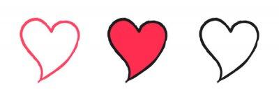 Sticker Set of Hand Drawn Sketch style Love Heart Illustration Symbols