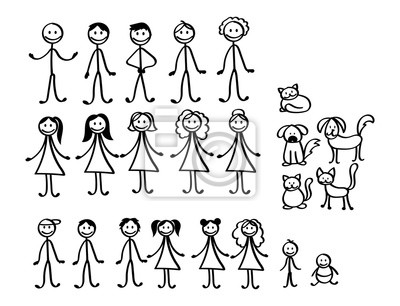 Sticker Set of happy cartoon doodle figure family, stick man. Stickman Illustration Featuring a Mother and Father and Kids. Vector Illustration, set of family in stick figures. Hand Drawn.