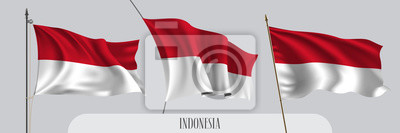 Sticker Set of Indonesia waving flag on isolated background vector illustration