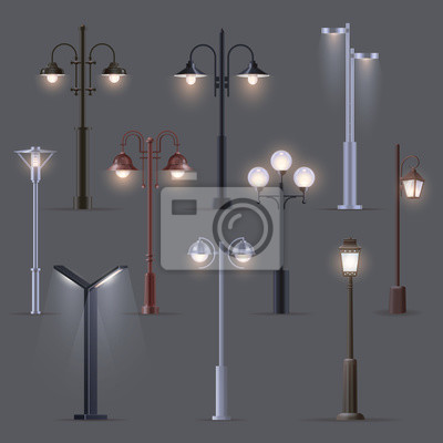 Sticker Set of isolated modern street light, old, lantern