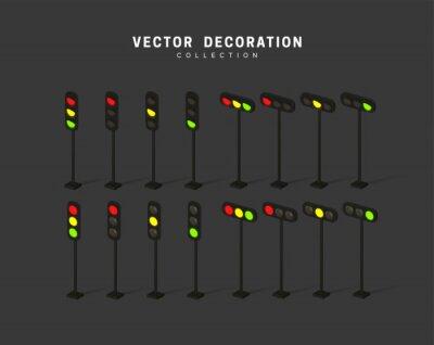 Sticker set of isometric traffic lights. vector illustration