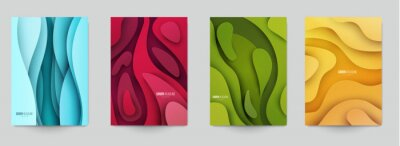 Sticker Set of minimal template in paper cut style design for branding, advertising with abstract shapes. Modern background for covers, invitations, posters, banners, flyers, placards. Vector illustration.