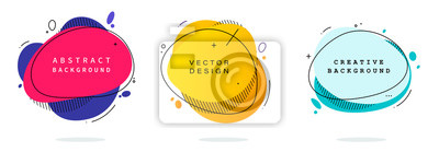 Sticker Set of modern abstract vector banners. Flat geometric shapes of different colors with black outline in memphis design style. Template ready for use in web or print design.