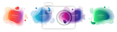 Sticker Set of modern graphic design elements in shape of fluid blobs. Isolated liquid stain topography. Gradient of blue and green, red and violet geometrical shapes.Blurry background for flyer, presentation