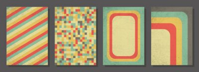 Sticker Set of retro covers. Cover templates in vintage design. Abstract vector background template for your design. Retro design templates set for brochures, posters, flyers, banners, covers, placards.