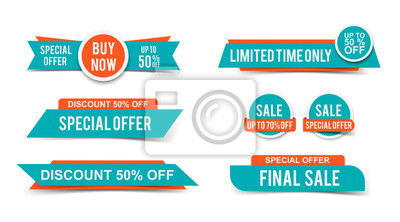 Sticker Set of Sale tags or banners, special offer headers, discount stickers. Vector elements for website design
