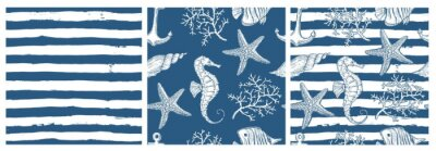 Sticker Set of sea style seamless patterns. Underwater creatures, starfish, sea horse, coral, fish.