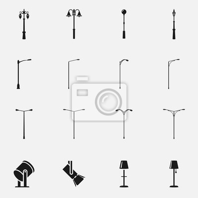 Sticker Set of street light lamps and spotlights silhouettes flat vector icon.