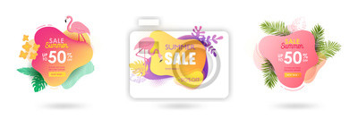 Sticker Set of Summer sale banner template. Liquid abstract geometric bubble with tropic flowers, flamingo. Tropical background and backdrop, Promo badge for seasonal offer, promotion, advertising. Vector