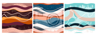 Sticker Set of three hand drawn abstract contemporary seamless patterns. Smooth lines. Stone texture. Modern trendy colorful illustration in vector. Marbleized effect. Every pattern is isolated