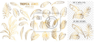 Sticker Set of tropical leaves. Hand drawn sketches traced in vector