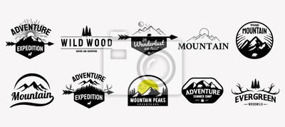Sticker Set of vector mountain and outdoor adventures logo designs, vintage style