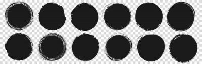 Sticker set of vector round brush painted ink stamp circle banner on transparent background