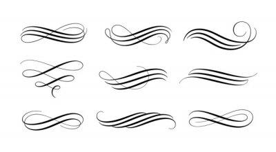 Sticker Set of vintage calligraphic flourish, curls, dividers, scrolls and swirls. Simple design elements. Hand drawn flourish vector collection.