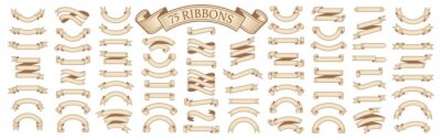 Sticker  Set of vintage scrolls ribbons on white. old blank banners vector illustration