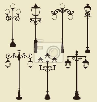 Sticker Set of vintage various ornamental streetlamps