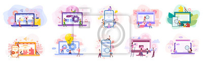 Sticker Set of website development banner. Web page programming