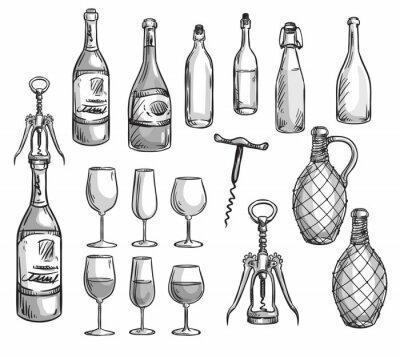 Sticker Set of wine bottles, glasses and corkscrews