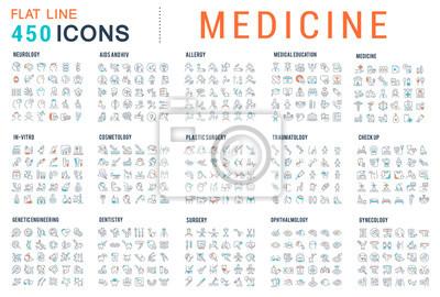 Sticker Set Vector Line Icons of Medicine