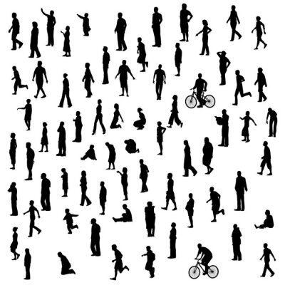 Sticker Set with silhouette of people standing in different poses isolated on white background. Vector illustration